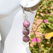 "CHARGED Sterling Silver 2"" Lepidolite Crystal Earrings HEART HEALER ENERGY"