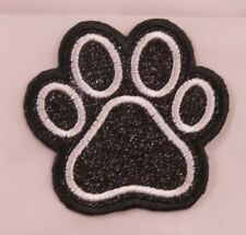Embroidered Jet Black Glitter White Dog Paw Print Dog Cat Applique Patch Iron On