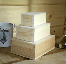 Small Medium Large Wooden Gift Jewellery Trinket Box lid craft rectangle
