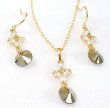 Set de Collar Pendientes Cristal 18K Oro Amarillo Chapado Gris Metálica Único Cz