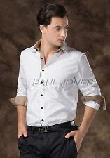 Stylish Men Boys Casual Smart Slim Fit Long Sleeve Shirts Formal Dress Lapel Top