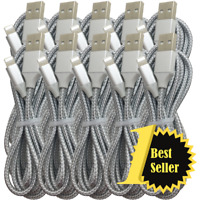 Wholesale Lot 6ft Braided USB Fast Charger Cable For iPhone 11 8 7 Charging Cord