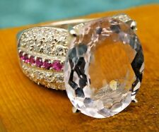 925 Sterling Silver Pink 9.6ct Kunzite Ring  Rubies Sapphires & W Gold Pl Size M