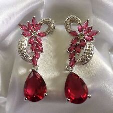 A27 Deco Style Pink Tourmaline Silver White Gold GF Dangle Earrings Plum UK BOXD