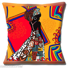 """African Tribal Lady 16""""x16"""" 40cm Cushion Cover Bright Coloured Ethnic Theme"""