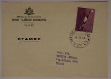 Storia Postale San Marino 20 Lire 1965 da Ufficio Filatelico a Genova #SP168