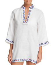 452be37fbc349 Tory Burch Womens Embellished Tunic Swim Cover-up White Medium Regular