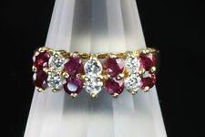 Fabulous dazzling 14K yellow gold diamond ruby ring, right hand ring retro woman