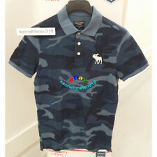 ABERCROMBIE & FITCH MENS EXPLODED ICON CAMO POLO SHIRTS BLUE CAMO SIZE MEDIUM