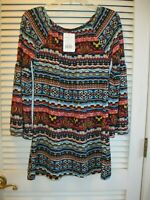 Win Win Colorful Southwest Bell Sleeve Tunic Size S/M Aztec Pattern So Nice! NWT