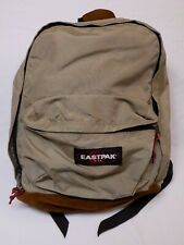 EASTPAK Made in USA Suede Leather Bottom Backpack Bookbag Beige Brown Shoulder