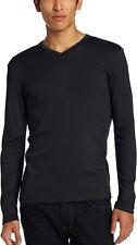 Calvin Klein Mens T-Shirt Black Size XL Ribbed Long Sleeve V Neck $39- #538