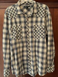 INC Mens L/S Collared Snaps Diwn Shirt Size XL