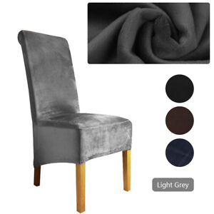Velvet Dining Chairs Covers Slipcover Stretch Large High Back Chair Grey UK