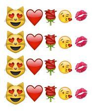 Emoji / Kiss / Heart / Nail Decals / Transfers / Nail Art / Rose / Valentine