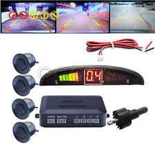 Black LED Display Car 4 Parking Sensor Reverse Backup Radar Alarm System Kit