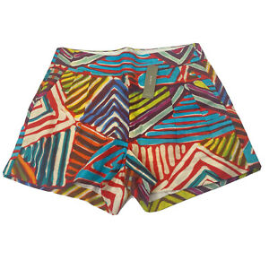 J Crew Collection Womens Geo Brushstroke Short Size 2 Pleat Side Zip NEW $75