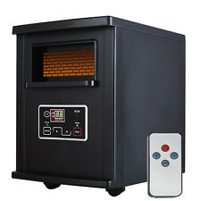 1500W Black Electric Portable Space Heater Infrared Quartz with Remote Control