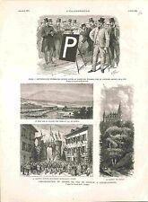 Paris Télégraphie Optique Jardin des Tuileries/Lac de Genève /Evian GRAVURE 1882