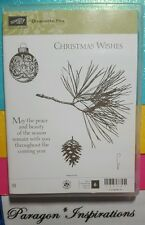 NEW Stampin Up ORNAMENTAL PINE Clear Christmas Wishes Ornament Limited Edition