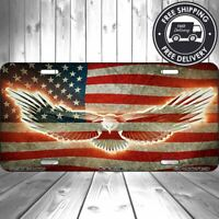 Patriotic American Flag Old Glory Aluminum Vanity License Plate USA Tag Car Auto