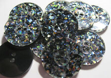 10 x GLITTER & BLACK 2-Hole resin Buttons approx. 21mm Wide (B164)