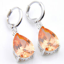 Classical water Drop Natural Honey Morganit Platinum Plated Silver Hook Earrings