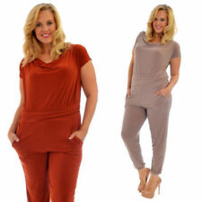 Plus Size Crew Neck Short Sleeve Jumpsuits & Playsuits for Women