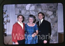 1960s 35mm  photo slide Teen Boys with Lady at house party Beverly Hills CA