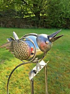 Bird Rocker Garden Ornament Lawn Metal Gift Present Quirky Silver Ball Spinner
