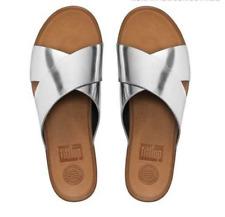 NEW Fit Flop Silver Aix Crisscross Leather Slides US Sz 7 Sandal Wedge FitFlop