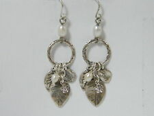 E02167CW Nature Inspired CZ & Pearl 925 Sterling Silver Earrings Dangling Leafs