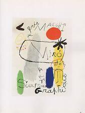 """1989 VINTAGE """"MIRO ART GRAPHIQUE"""" MAEGHT MOURLOT MINI POSTER COLOR Lithograph"""