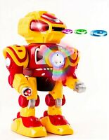 Walking Android Toy Robot With Shooting  Disc Flashing Lights And Sound Action Y