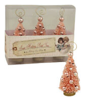"""Bethany Lowe Easter Set of 3 """"Pink Mini Trees Ornament/Placecard Holder"""" LO5540"""