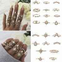 12Pcs/Set Boho Vintage Women Moon Hollow Crown Opal Knuckle Midi Finger Ring