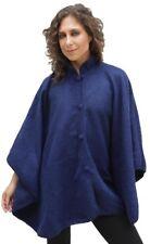 Alpaca Wool Cloak Wrap Cape Poncho, Blue