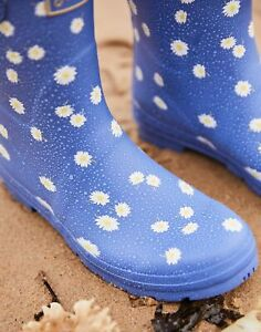 Joules Womens Molly Mid Height Wellies - Blue Daisy - Adult 7