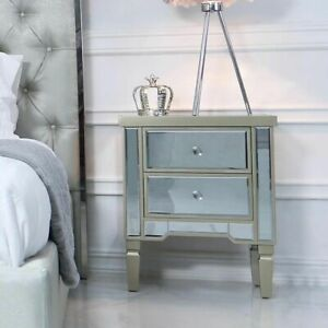 Champagne Mirrored Bedside Table Chest Venetian Bedroom Furniture Glass Cabinet