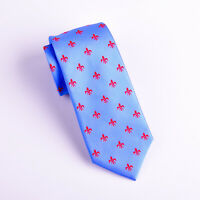 Blue & Red Italian Fleur-De-Lis Tie Hot Light Blue Floral Crest Mens 8cm Tie