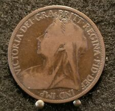 1898 UK Great Britain British One 1 Penny Old Victoria Coin