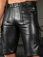 MENS REAL COWHIDE LEATHER CARPENTER SHORTS / RESTRAINTS CHASTITY LEATHER SHORTS