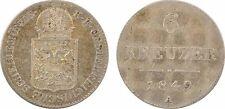Autriche, 6 kreuzer, révolution, 1849 A, argent, SUP+ - 68
