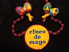 """MEXICAN """"CINCO de MAYO"""" MARACAS MARDI GRAS NECKLACE BEAD THE 5th of MAY (B350)"""