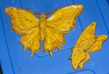 """Butterflies to Hang 1970's Yellow Color Very Detailed Large One 11"""" Wide 7"""" High"""