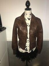 aviatrix Brown leather bomber jacket