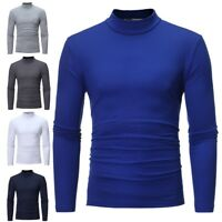 Mens High Roll Neck Long Sleeve Cotton Turtle Neck Tops Jumper Pullover T-shirt