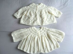 """TWO HAND KNITTED BABY MATINEE COATS  IN LOVELY CREAM. (18"""" chest )"""
