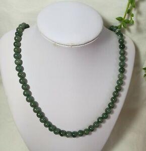 Certified Grade A light/oil green Jadeite Jade 8mm bead gemstone Necklace L55cm