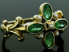 R268 Genuine 9ct SOLID Yellow Gold Natural Emerald & Pearl Blossom Ring size N